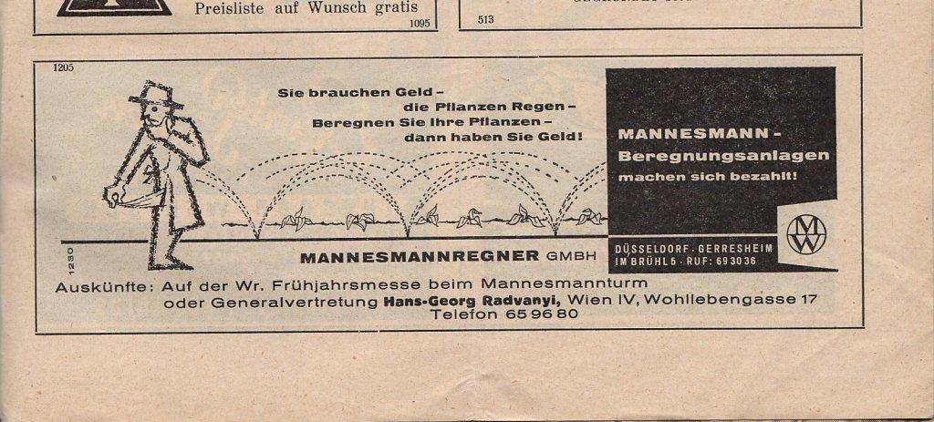 Inserat aus der Österreichischen Gartenbauwirtschaft 1961