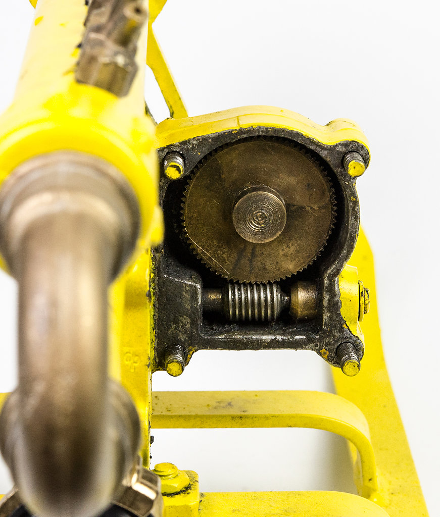 Das Schneckengetriebe des Exenters