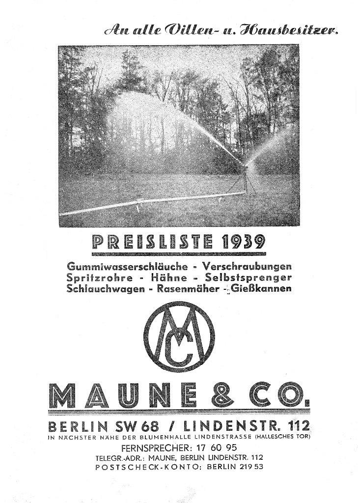 Katalog Maune&Com 1939