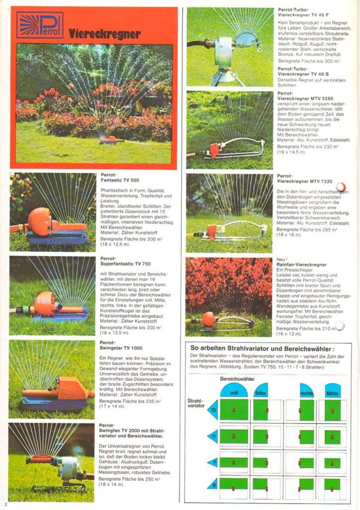 PERROT Gartenkatalog 1977 Die Viereckregner